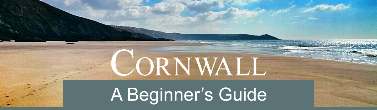 A Cornwall beach with text - Cornwall, a beginners guide