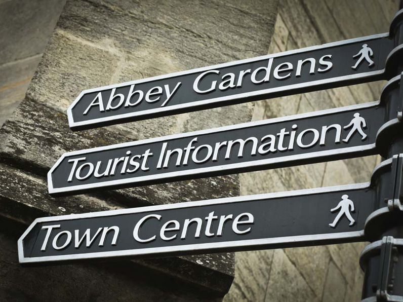 A Suffolk signpost to show where to go for town centre, Abbey gardens and tourist information