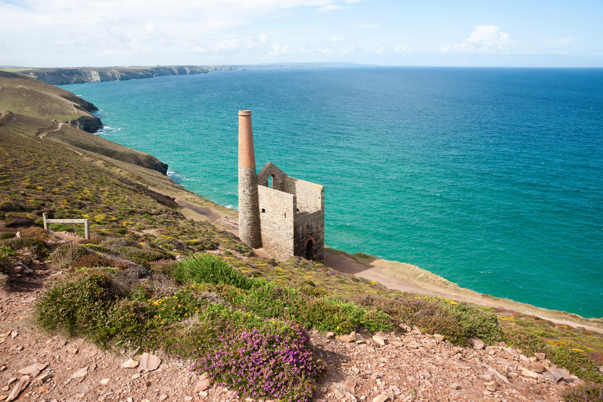 Ruined Cornish tin mines with views to the sea