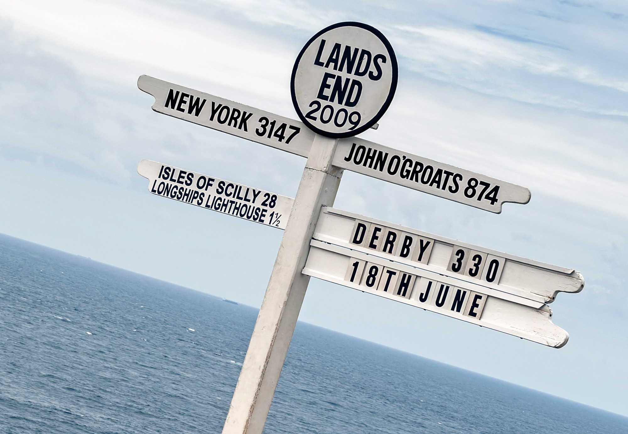 Lands End signpost showing how far to John O'Groats and New York