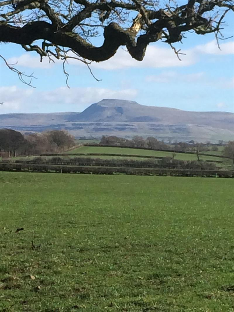 Views of the Lancashire countryside with Pendle Hill in the distance
