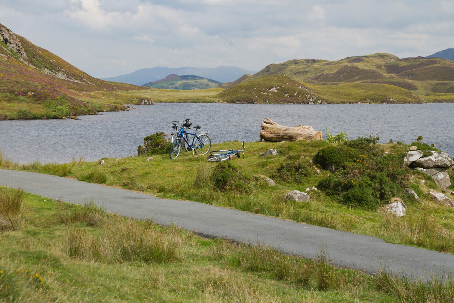 View of cyclist's bikes next to a lake