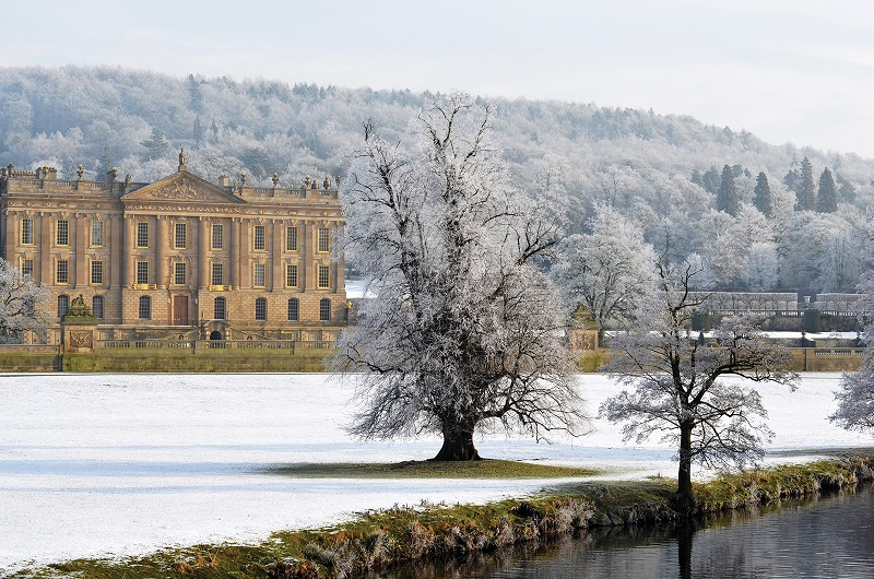 Snow on the ground at Chatsworth House