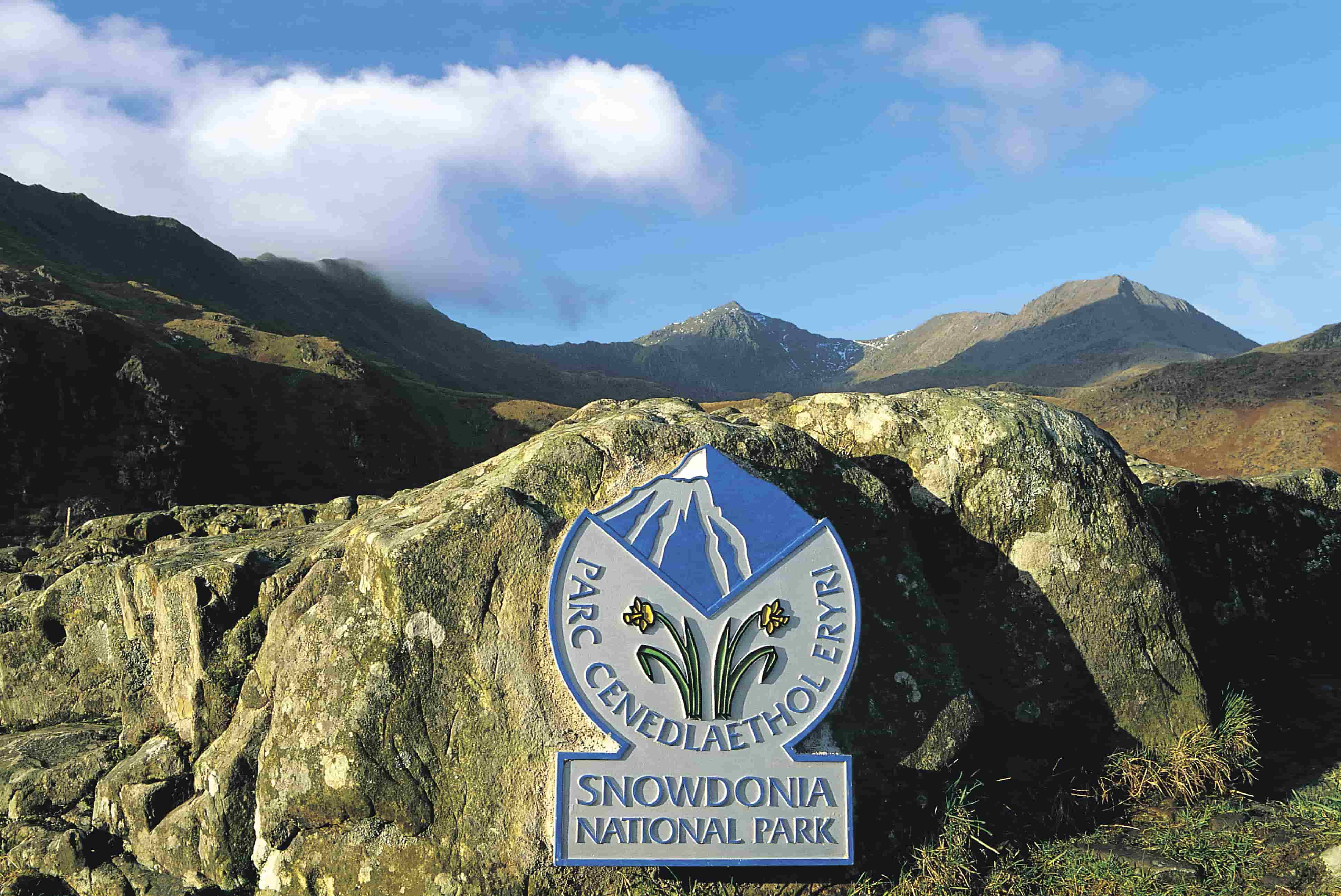 Snowdonia National Park plaque with views of the mountains