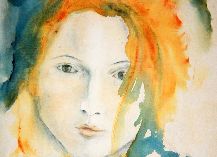 Watercolour painting of woman's face