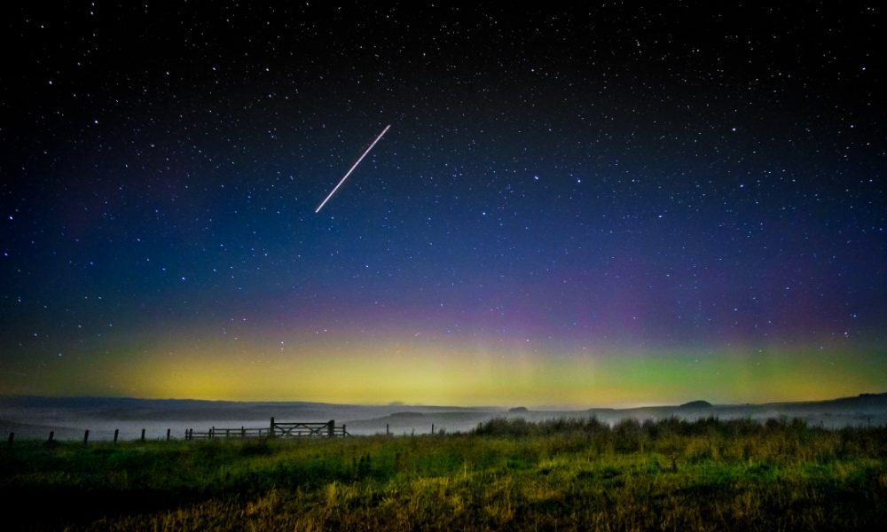 The Northern Lights appearing over Northumberland