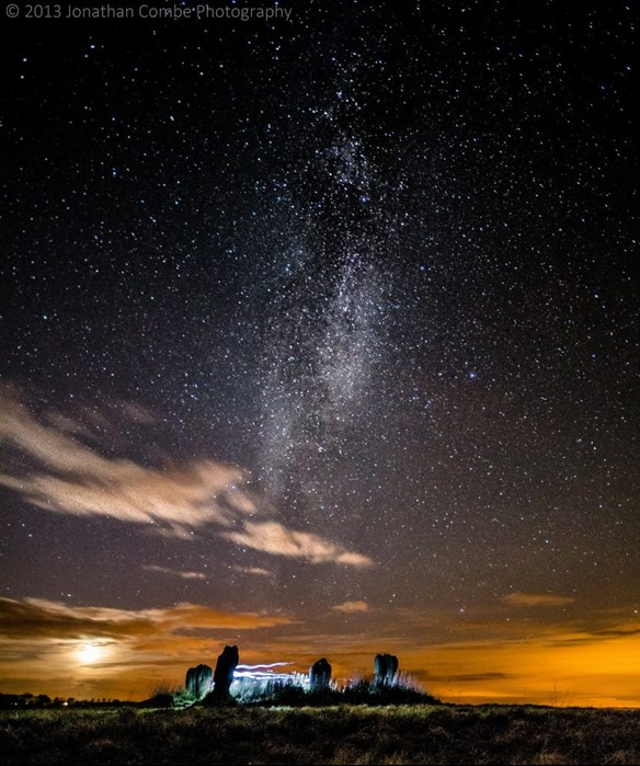Milky Way and the night sky over  Duddo Five stones