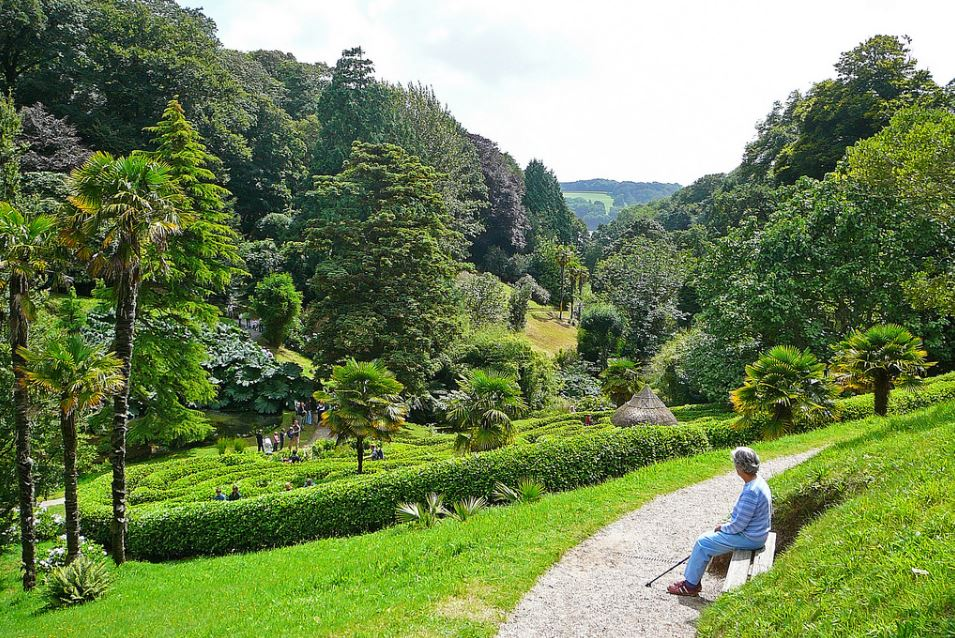 Lady sat on a bench in Glendurgan Garden
