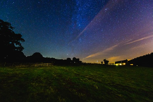 Starry night sky in the Brecon Beacons