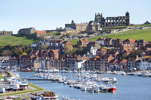 Whitby harbour with Whitby Abbey in the background
