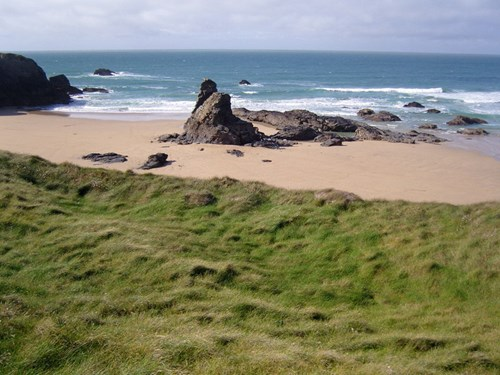 Low tide at Porthcothan beach Cornwall