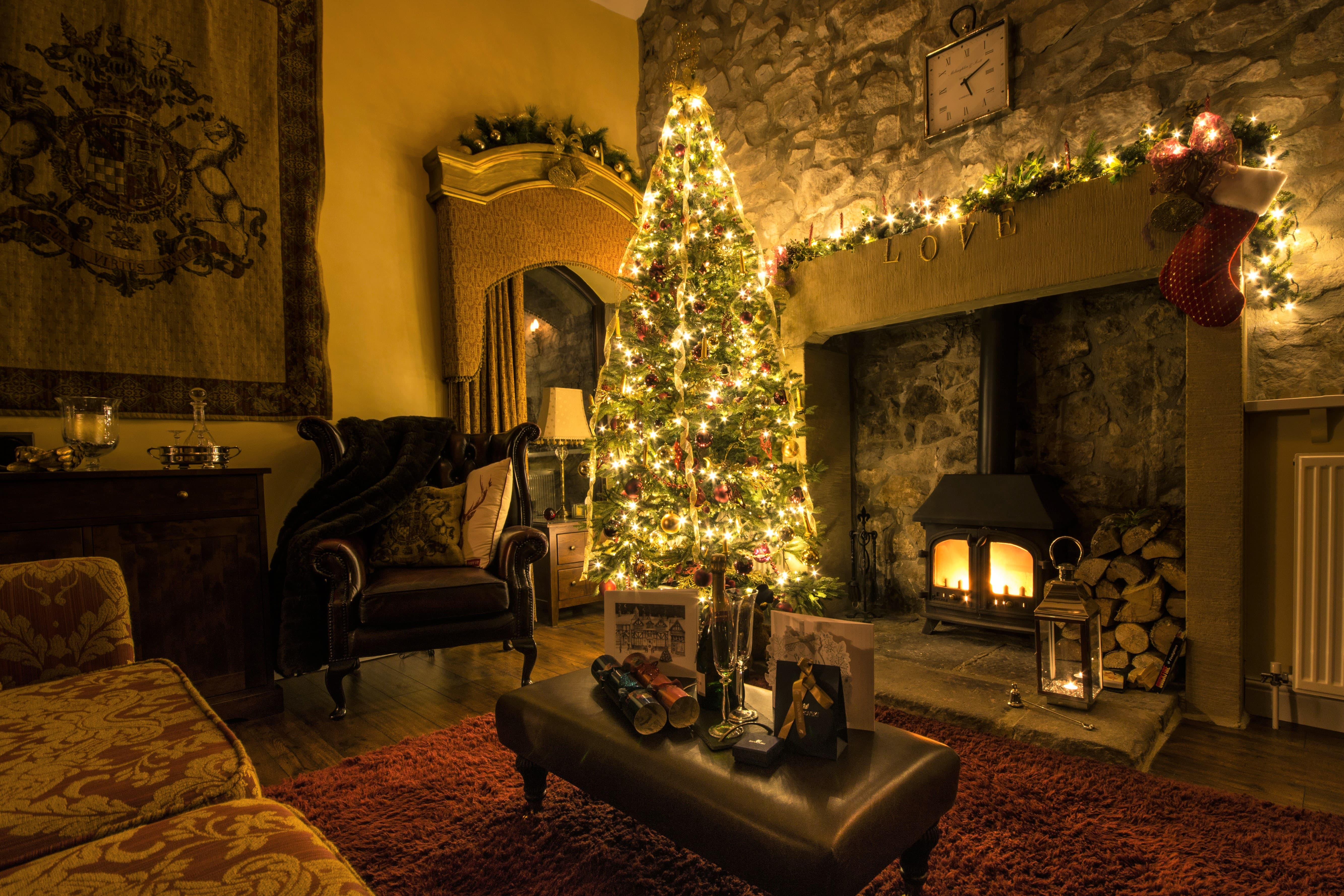 Cosy cottage with real fire and Christmas decorations