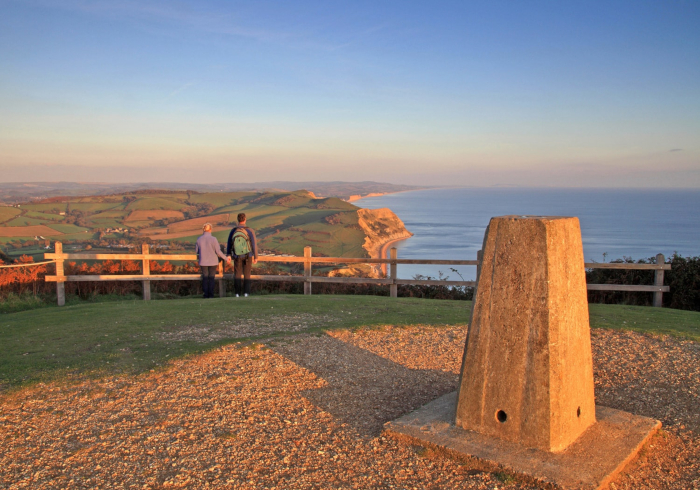 People looking out over the Devon Jurassic Coast