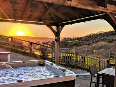 Bubbling hot tub with views