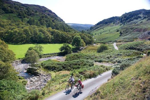 People cycling in the Lake District