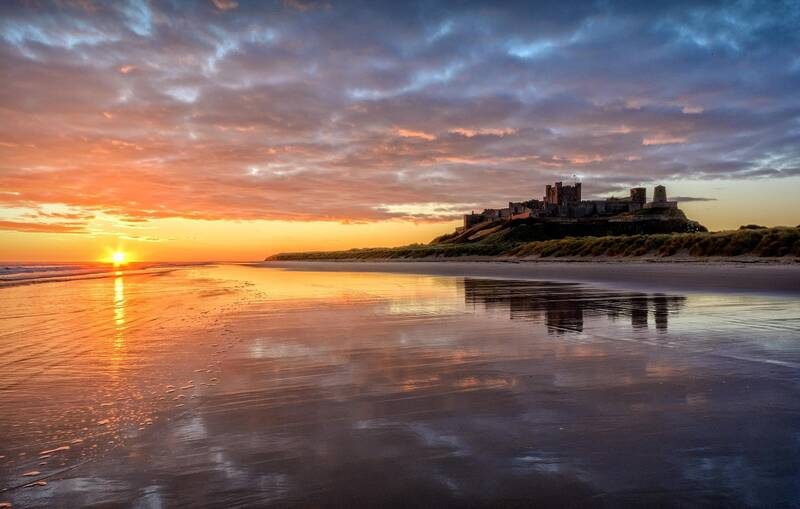 Bamburgh beach in Northumberland