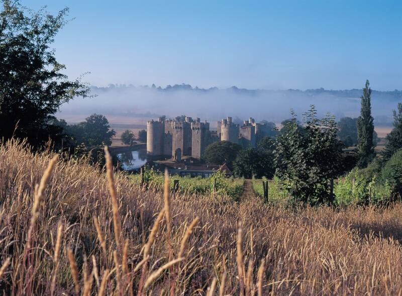 View of Bodiam Castle from afar
