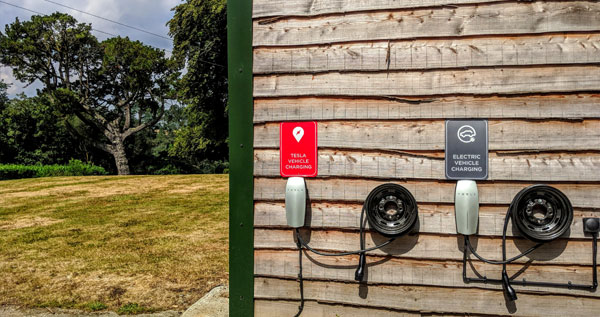 Electric vehicle charging points at a luxury holiday cottage
